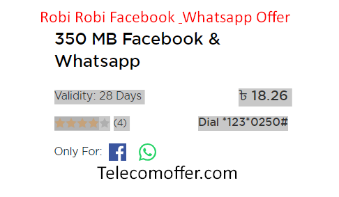 Robi 350 MB Facebook & Whatsapp Offer